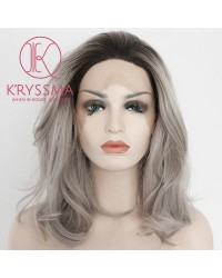 Ombre Gray Dark Roots Short Bob Synthetic Lace Front Wig 12 inches