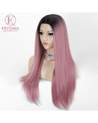 Fashion Pink Long Straight Ombre Synthetic None-Lace Wig 22 Inches