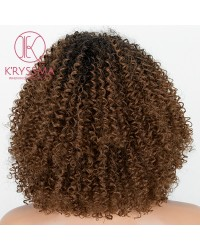 2 Tones Ombre Brown Short Bob Curly L Part Synthetic Wig Heat Resistant 14 inches