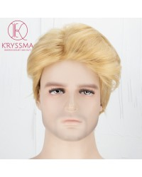 Blonde Short Bob Wig Synthetic None-Lace Wig for Men