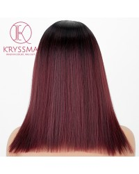 2 Tones Burgundy Shoulder Length Silk Straight L Part Wig Synthetic Wig with Dark Roots