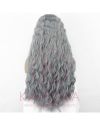 Grey Curly Long Lace Front Wigs