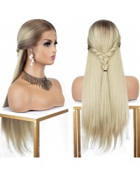 Hot Sale! 13x6 Blonde Ombre Long Silk Straight Lace Front Wig 22 Inches