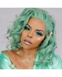K'ryssma Mint Green Lace Front Wig with Heat Resistnat Short Wavy Bob Synthetic Wigs Glueless for Women