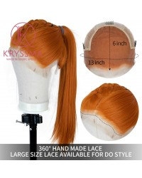 "K'ryssma Cosplay Orange Lace Front Wig 6"" Deep Free Part Long Silky Straight Synthetic Wigs Natural Hairline 13x6 Orange Wig for Women Heat Resistant 22 Inches"