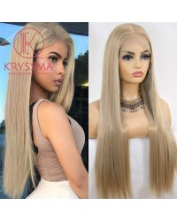 Blonde 13x6 Lace Front Wig for Women Natural Hairline Long Silky Straight Blonde Synthetic Wig Heat Resistant 22 inches