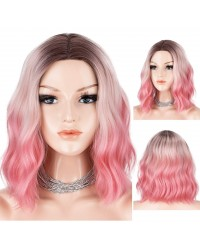 Blue Ombre Wig Bob with Dark Roots 3 Tones Short Wavy Glueless Synthetic Wigs