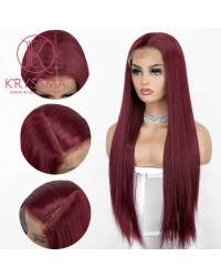13x6 Burgundy Lace Front Wig Natural Hairline Silky Straight Long Synthetic Wigs Deep Free Part 22 Inches Wine Red Wig for Women Heat Resistant