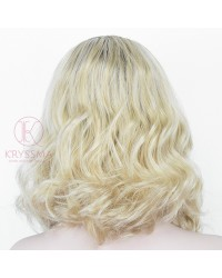K'ryssma Short Bob Lace Front Wig Blonde Ombre with Dark Roots Side Parting Wavy Ombre Ssynthetic Wigs for Women