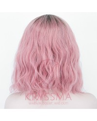 Ombre Pink Short Bob Lace Front Wig Synthetic Wig with Dark Roots