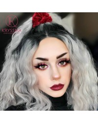Silver Grey Short Bob Ombre Synthetic Wig