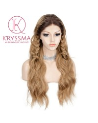 Ombre Ash Blonde Long Wavy Lace Front Wigs 22 inches