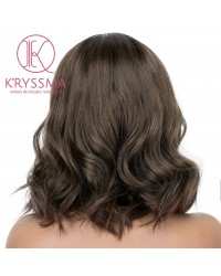 K'ryssma 150% Short Bob Wavy Lace Front Wigs Heat Resistant Glueless Ombre Brown Synthetic Wig with Dark Roots for Women Daily Wear
