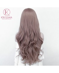 Ash Pink Long Wavy Lace Front Wigs