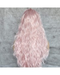 Pink Long Wavy Lace Front Wigs Glueless Synthetic Wig