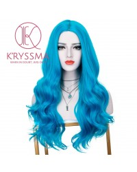 Bright Blue Long Wavy Synthetic Wig Cosplay Party Costume None Lace Wig