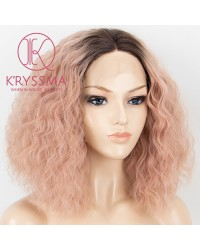 Orange Pink Dark Roots Short Bob Wavy Synthetic Lace Front Wig