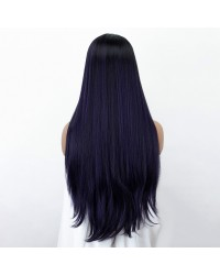 28 Inches Ombre Purple Lace Front Wig with Baby Hair Medium Length Natural Straight Synthetic Wig Mixed Color Dark Roots L part Deep Parting