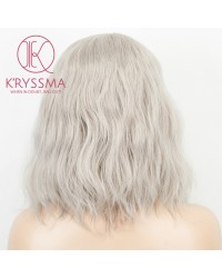 K'ryssma Grey Lace Front Wigs Silver Short Bob Wig Heat Resistant Grey Synthetic Wigs for Women