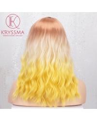 Colorful Ombre 3 Tones Origin White to Yellow Short Bob Wavy None-Lace Wig