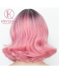 New Ombre Pink Short Bob Synthetic Wig with Dark Roots Heat Resistant