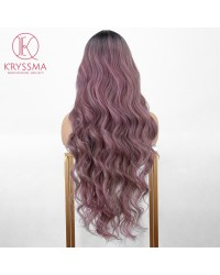 Ombre Purple Long Wavy L Part Lace Front Wig with Dark Roots Heat Resistant 26 inches