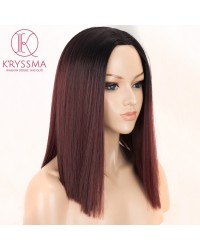 Dark Red Short Bob Synthetic None-Lace Wigs with Black Roots