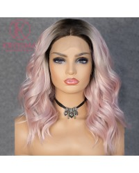 Olivia Recommend: Baby Pink Ombre Lace Front Wig Bob Short Wavy with Middle Parting Dark Roots