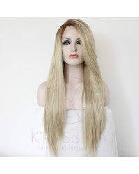 Fashion Ombre Blonde Glueless Long Natural Straight Lace Front Wigs