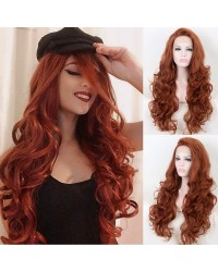 #350 Copper Red Body Wave Long Synthetic Lace Front Wigs 22/24 Inches