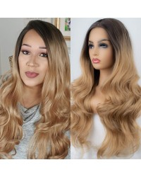Ombre Blonde Dark Roots Long Wavy Synthetic Lace Front Wig 24 inches