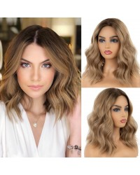 Ash Blonde Short Wavy Bob Synthetic Lace Front Wig