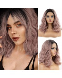 Ash Pink Short Bob Synthetic Lace Front Wig