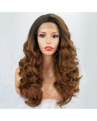 Ombre Brown Wavy Synthetic Wig L Part with Dark Roots