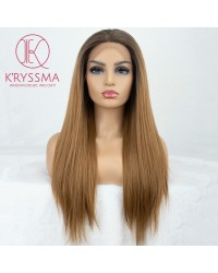 Ombre Brown Silk Straight L Part Lace Wig
