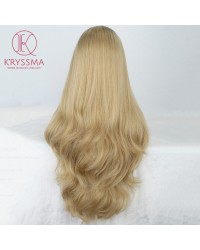 Ash Blonde Long Wavy Lace Front Wigs Ombre Synthetic Wigs with Dark Roots Heat Resistant