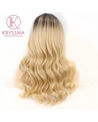 Ombre Blonde Long Wavy Synthetic None-Lace Wig Heat Resistant 18 inches