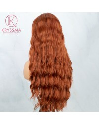 Copper Long Wavy Auburn Synthetic Lace Front Wig  22 inches
