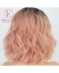 Ombre Pink Wavy Short Bob Lace Front Wig Rose Blonde