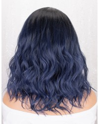 Blue Lace Front Wig Ombre with Black Roots Short Wavy Bob Synthetic Wig L Part Deep Side Parting Short Bob Wigs for Women