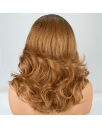 Ombre Brown Shoulder Length Wavy L Part Wig with Dark Roots