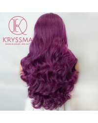 Long Wavy Purple Wig Ombre Dark Roots Heat Resistant Glueless Synthetic Hair Wigs 24 inches