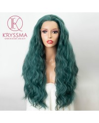Dark Green Long Wavy Lace Front Wigs Glueless Synthetic Wigs for Cosplay & Party