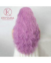 Violet Light Purple Long Wavy Synthetic Lace Front Wigs Party Comstume Cosplay Wig 22 Inches