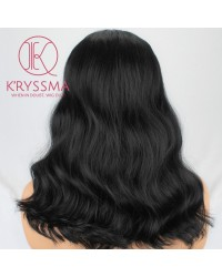 Shoulder Length Wavy #1B Natural Black Synthetic Non-Lace Wig