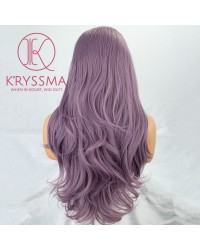 Ombre Purple Long Wavy Lace Front Wig Dark Root 22 inches