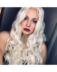 Platinum Blonde Long Natural Wavy Synthetic Wigs - Processing Time: 5 Days