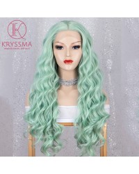 Mint Green Long Wavy Lace Front Wig 22 Inches