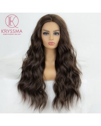 Olivia Recommend: Dark Brown Natural Looking Long Wavy Synthetic Lace Front Wig 22 inches - Processing Time: 5 Days