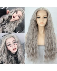 Silver Grey Curly Long Lace Front Wigs 22 Inches